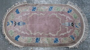 Antique Art Deco Chinese Rug Hand Knotted Wool China Ca 1920 S 3x5 5ft 5023