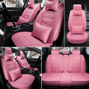 Universal Deluxe Car Seat Covers Front Rear Seat Cushion Pu Leather 5 Seats Pink