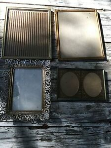 Lot Of 4 Vintage Metal Filigree Hollywood Regency Photograph Photo Picture Gold