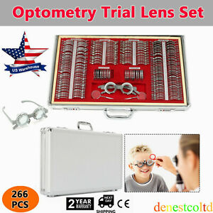 266 Pcs Optical Trial Lens Set Optometry Kit Metal Rim Aluminum Case Trial Frame