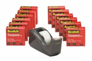 Scotch Transparent Tape With Dispenser 3 4 X 1 000 Clear Pack Of 12 Rolls