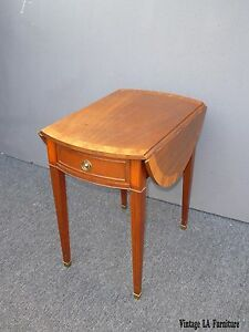 Vintage Baker French Provincial Single Drawer Drop Leaf Side Table