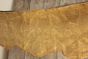 Italian 18th Century Silk Damask Valance Gold Textile Antique Early 1700 S