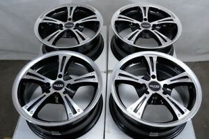 15 4x100 4x114 3 Black Wheels Fits Accord Civic Spark Tiburon Miata 4 Lug Rims