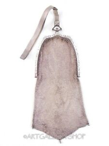 Vintage Whiting Davis Co Sterling Silver Mesh Bag Purse Handbag Wristlet