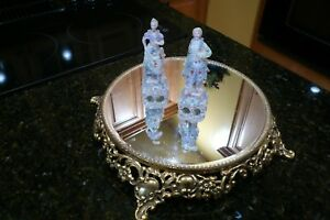 Vintage Gold Mirrored Plateau W A Very Ornate Footed Base