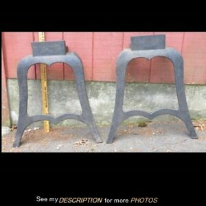 Antique Pair Industrial Machine Age Cast Iron Bench Table Legs Steampunk
