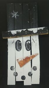 Primitive Style Barn Wood Hand Painted Snow Man Shelf Sitter 16 Usa