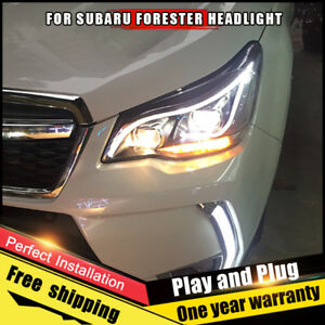 For Subaru Forester Headlights Assembly Bi Xenon Lens Double Beam Hid Kit 14 18