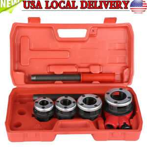 4 Dies Manual Plumber Pipe Threading Kit 1 2 3 4 1 1 1 4 Threader Tool New