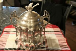 Wm A Rogers Silverplate Spooner Bowl Covered Dish With Spoons 3634 Look