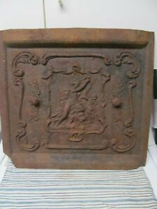 Antique Cast Iron Fireplace Cover Woman Child Playing A Harp 2 Vents Grate