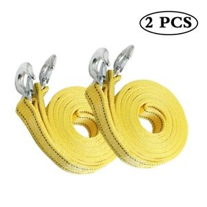 8 Tons 20ft Car Tow Rope Cable Towing Strap Emergency 2 Layer Heavy Duty 2 Pack