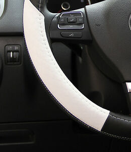 58014 Circle Cool Luxury Steering Wheel Cover Wrap 14 5 Black White Pvc Leather