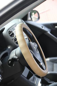 58003 Circle Cool Luxury Steering Wheel Cover 14 75 Diameter Beige Pvc Leather