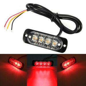 1pc Car Truck Motorcycle Warning Flash Light Flashing Strobe Lamp Red Led 12 24v