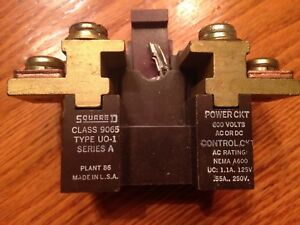 Square D Thermal Overload Relay Class 9065 Type Uo 1 Series A