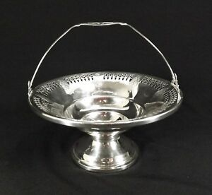 Antique Sterling Silver Candy Or Nut Basket W Hinged Handle Very Pretty