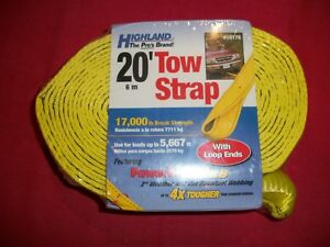 New 2 X 20 Tow Strap With Loop Ends