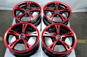 15 4x100 4x114 3 Red Wheels Fits Accord Civic Spark Tiburon Miata Mx5 4 Lug Rims