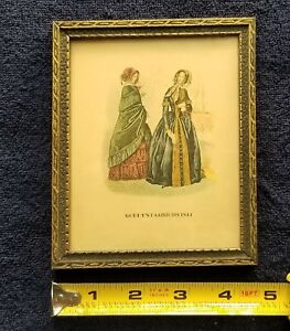 Old Vintage Small Frame With Picture Of Two Women Godey S Fashions 1844