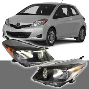 Fits For 2012 2014 Toyota Yaris Hatchback Black Headlights Headlamp Set
