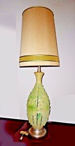 Mid Century Modern Vintage Green Floral Petals Porcelain Table Lamp With Shade