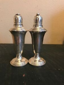 Vintage Empire Sterling Silver Weighted Large Pair 5 Salt Pepper Shakers 241