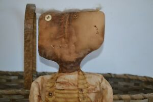 Primitive Doll Handmade Signed Dated 2005 Wool Hair Antique Buttons 24 Tall