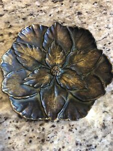 Vintage Dogwood Flower Pin Tray Dish Cast Metal Solid Bronze Plate Finish 6