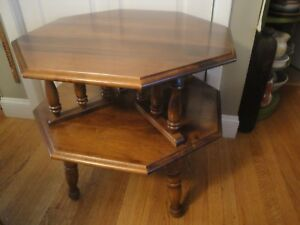 Vintage Octagonal Two Tiered Maple Birch Side Accent Bedside End Table