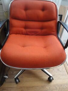 Mid Century Knoll Pollock Office Chair Orange Upholstered Seat