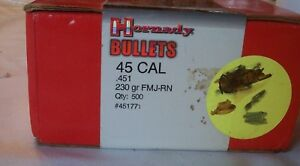 Hornady Bullet Co .45 ACP reloading. 230 gr. FMJ-Round Nose-500 ct.