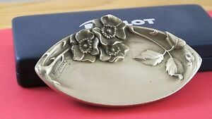 Beautiful M Migneau Signed Bronze Dish With Flowers Jz 0261