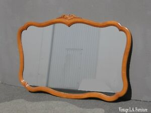 Large Vintage French Provincial Chic Shabby Solid Maple Wood Wall Mantle Mirror