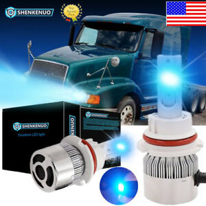 Ice Blue Led Headlight Bulbs Kit Conversion Lamps For Volvo Vn vnl vnm 8000k