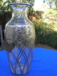 Large Sterling Silver Overlay Glass Vase 12 5