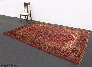 Vintage Rectangle Red Floral Design Persian Area Rug