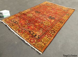Large Vintage Rectangle Geometric Pattern Red Orange Turkish Area Rug