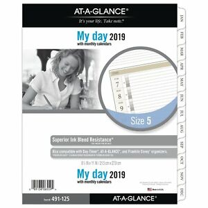 At a glance 2019 Daily Planner Refill Day Runner 8 1 2 X 11 Folio Size 5 O
