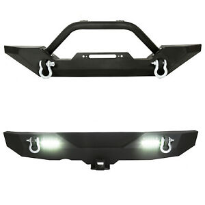 Rock Crawler Front Rear Bumper Winch Plate Led D Ring For 87 06 Jeep Wrangler