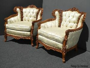 Pair Vtg French Provincial Rococo Ornately Carved Tufted Accent Chairs Louis Xvi