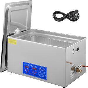 30l 380w Digital Heated Industrial Ultrasonic Cleaner W timer amp amp Basket