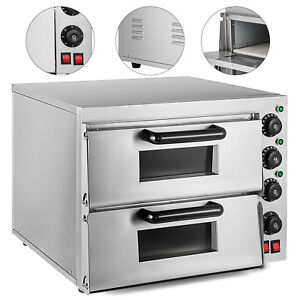 Electric 3000w Pizza Oven Double Deck Stainless Steel Ceramic Stone Cooking