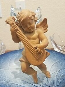 Hand Carved Wooden Wall Hanging Angel Cherub Putti Putto Playing The Mandolin