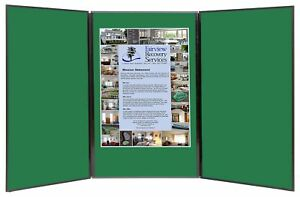 Folding 3 Panel 49 X 20 Green Tabletop Display For Use With Velcro Hook Tape