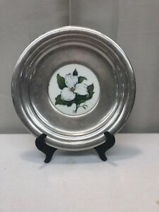 Read And Barton Sterling Silver Plate With Glass Flower Insert Mm1513