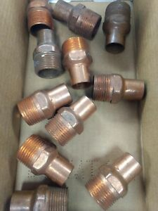 lot Of 11 3 4 X 1 Plumbing Copper Fittings Sweat Male Adapter