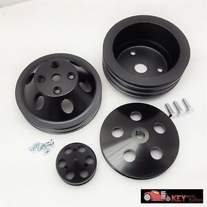 Small Block Chevy Black Aluminum Pulley Set Sbc Long Pump Lwp 2 3 Groove Alt Ps