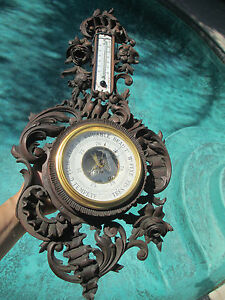 French Victorian Carved Walnut Wood Thermometer Barometer By Marti 1